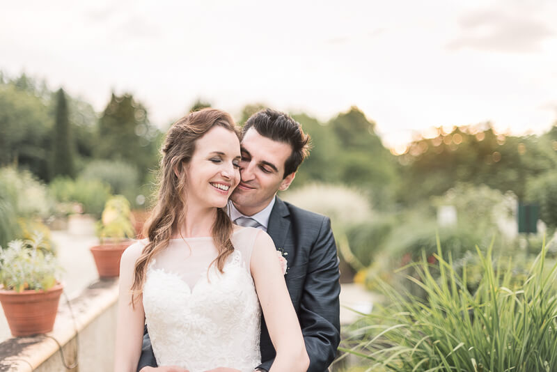 English bride and groom in Southwest France