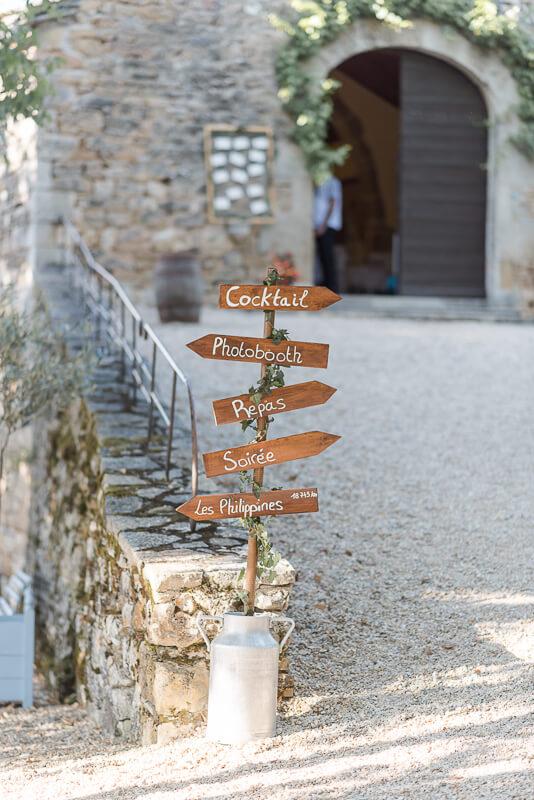 Se marier au Château de Cas, panneau de directions en bois