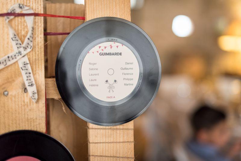 Plan de table mariage musical sur vinyl au domaine de Pagayrac - Christelle Lacour Photographe